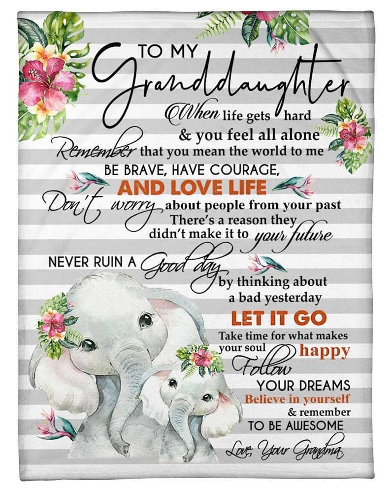 To My Granddaughter From Grandma Elephants And Flowers - Blanket - 1