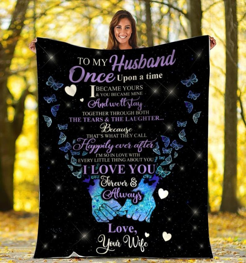 Omegaspeaker-Butterfly to my husband once upon a time -Fleece blanket gift husband