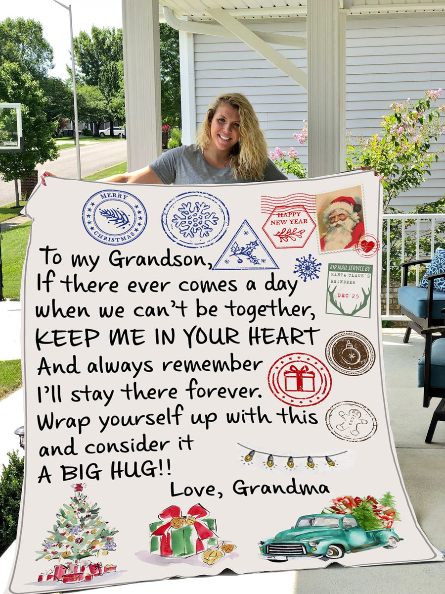 Omegaspeaker-To My Grandson A Big Hug Love Grandma Christmas Gift Blanket