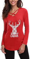 Womens Sexy Cross Front V-Neck Long Sleeve Christmas Letter Print T-Shirt