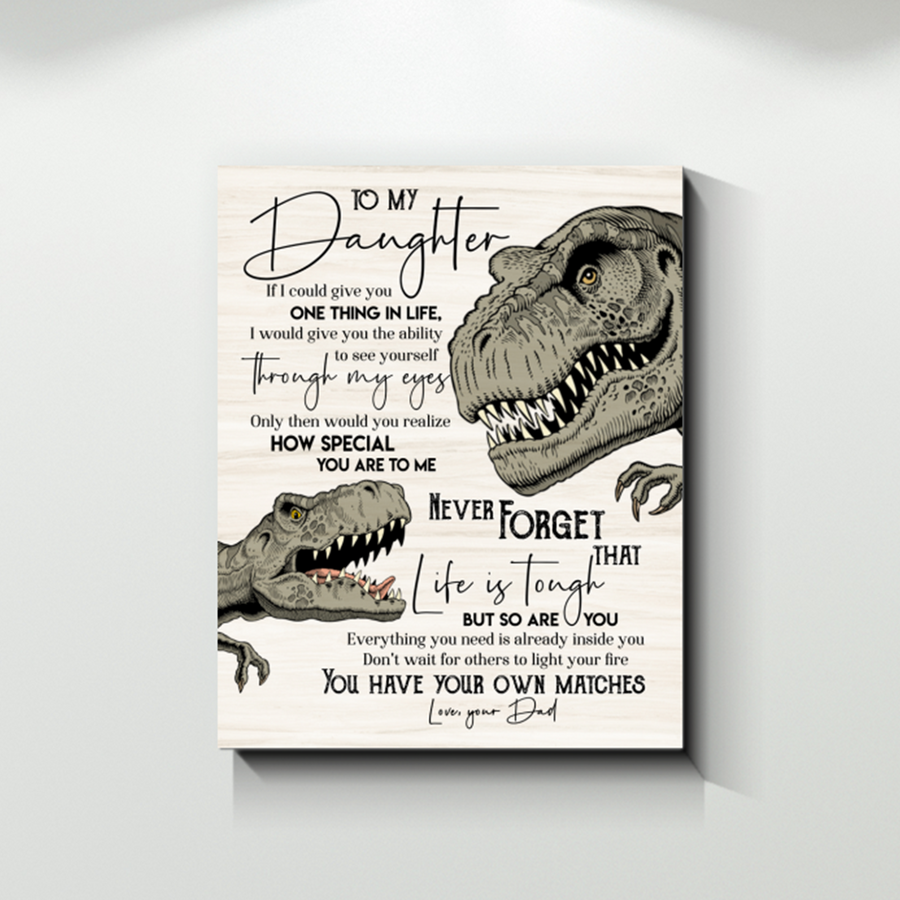Omegaspeaker -Dinosaur Dad To My Daughter You Have Your Own Matches Canvas Prints Wall Art