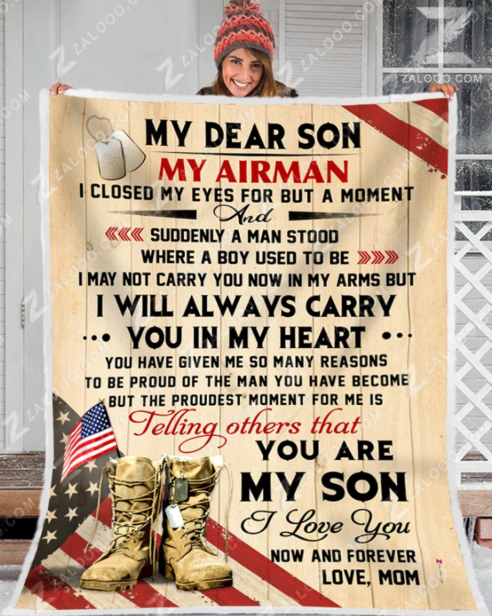 Omegaspeaker-Air force blanket - My Dear Son - Gift for Son/ Grandson - Birthday Christmas gift