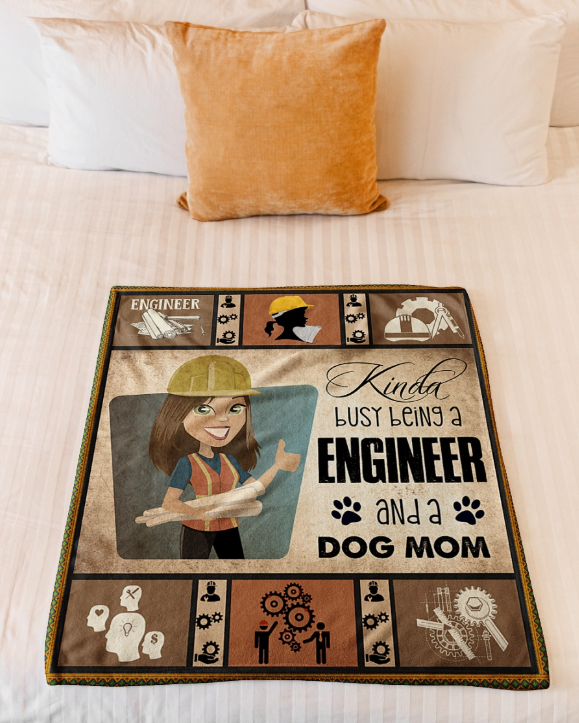 Omegaspeaker-BEING A ENGINEER AND A DOG MOM Fleece Blanket -  Happy Labor Day