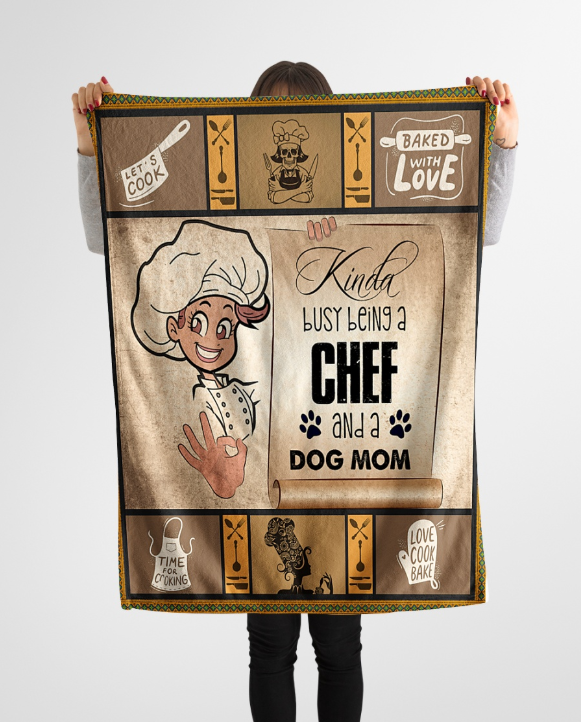 Omegaspeaker-BEING A CHEF AND A DOG MOM Fleece Blanket -  Happy Labor Day