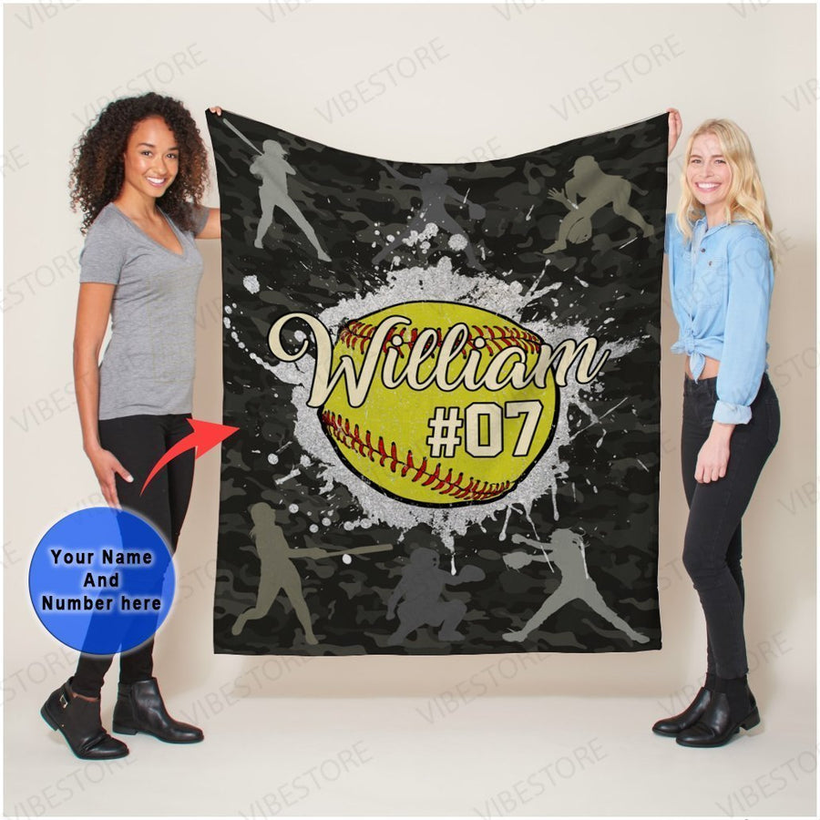 Omegaspeaker-Personalized Softball Fleece Blanket