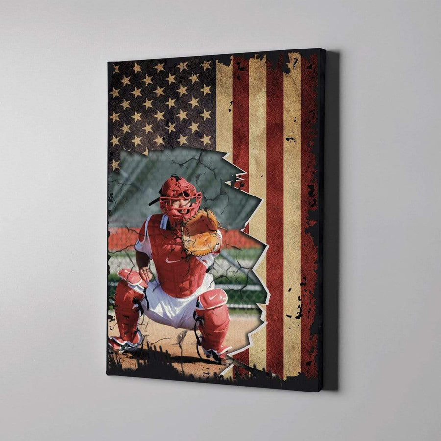Omegaspeaker -Baseball custom canvas prints Flag US With Photo 081019H