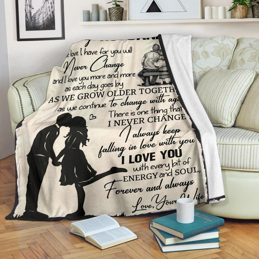 Omegaspeaker- Christmas Gift Idea-gift for husband -  I love you, never change - Fleece Blanket