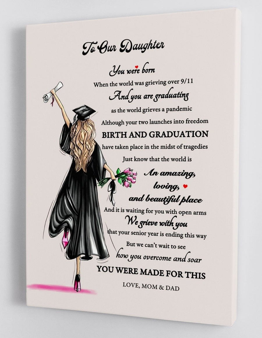 Omegaspeaker-To Our Daughter - From Mom  Dad - Graduation Canvas BTL016