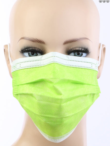 Chartreuse Disposable Face Mask - Box/50
