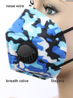 Amari KN95 Blue Camouflage Disposable Face Mask