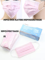 Pink Disposable Face Mask - Box/50