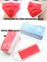 Red Disposable Face Mask - Box/50