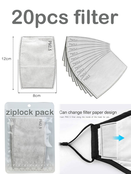 20pc PM2.5 Replaceable Activated Carbon Filter For Cloth Face Mask