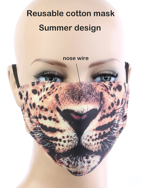 Riley Animal Face Print Cloth Face Mask