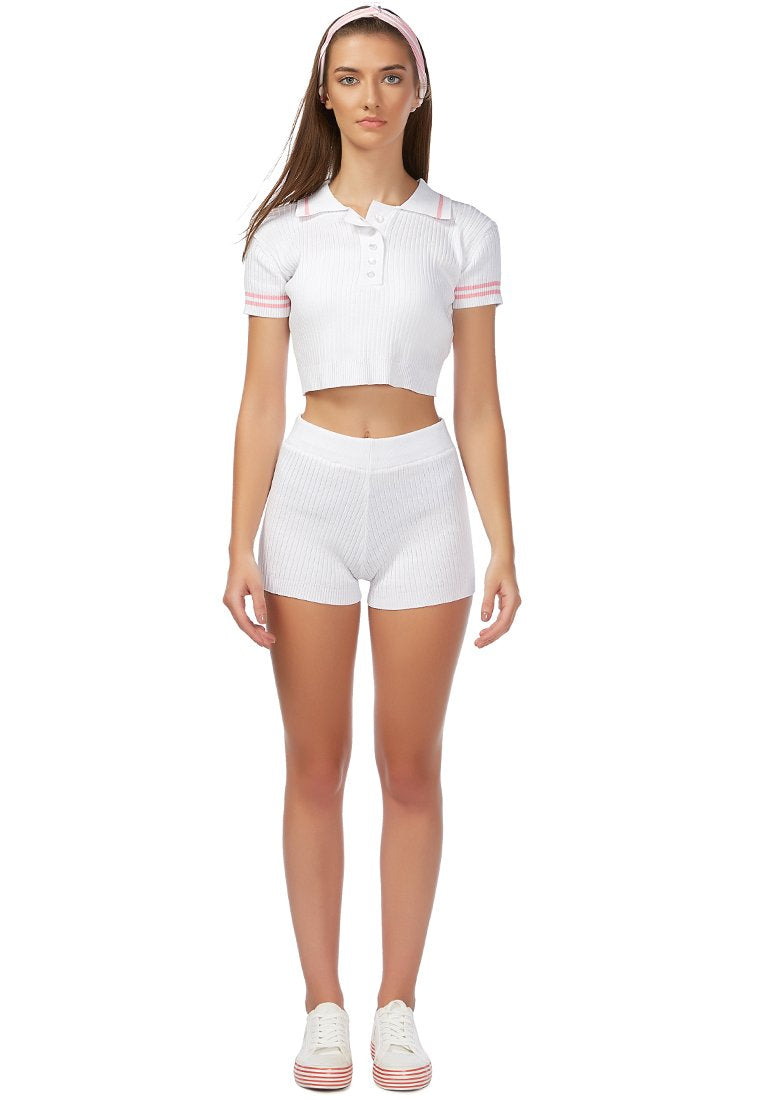 BE A SPORT CROPPED POLO T SHIRT