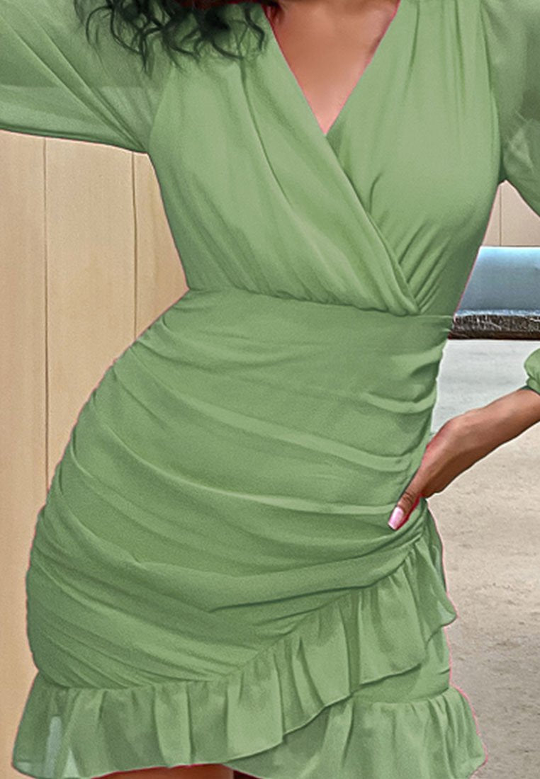 BODYCON RUCHED WRAP DRESS
