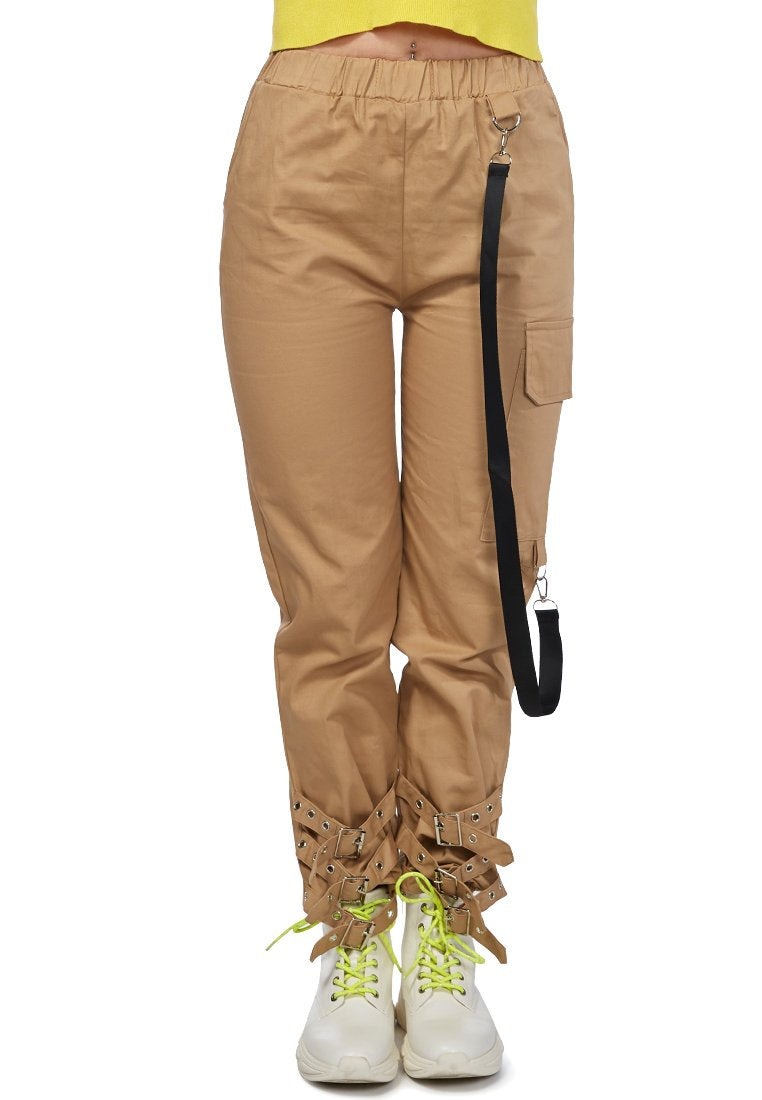 BUCKLED ANKLE TRACK PANTS