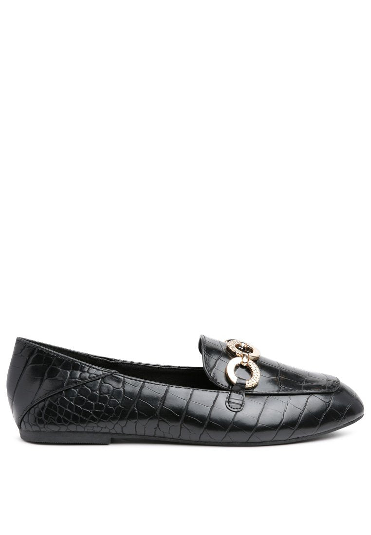 CROC BUCKLE LOAFERS