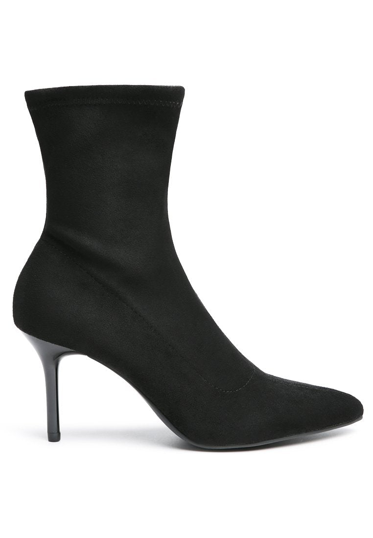 FALCON BLACK HIGH ANKLE STRETCH BOOTS