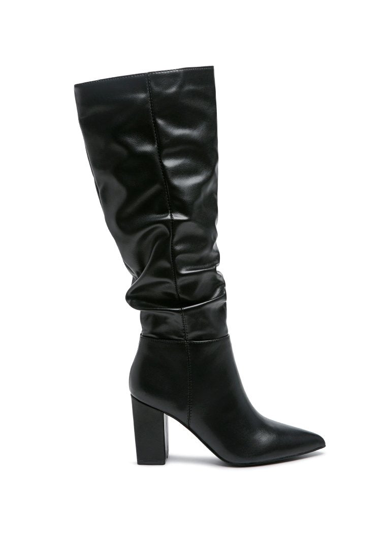 HANOI KNEE HIGH SOLID TONE SLOUCH BOOTS WITH SIDE ZIPPER