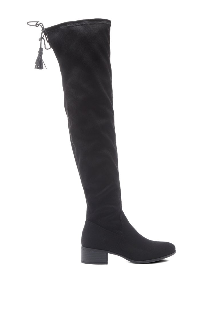 KIANA FAUX LEATHER OVER THE KNEE BOOTS