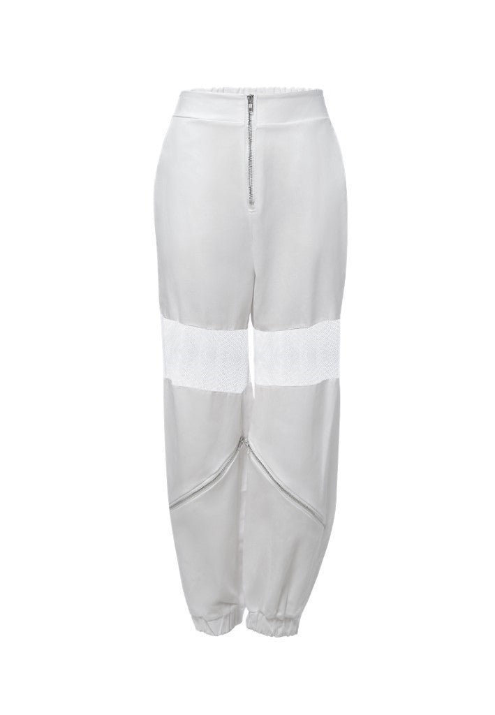 mesh zipped up track pants