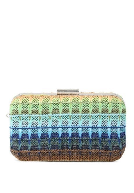 multicolored clutch with detachable chain
