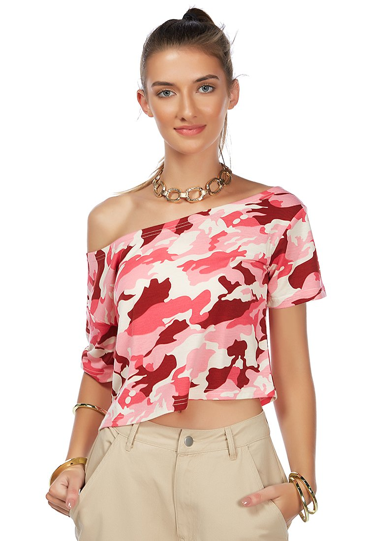 PINK CAMOUFLAGE SELF STYLE CROP TOP