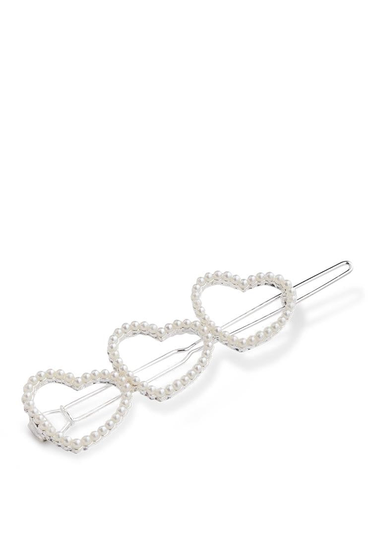 pearl hair clip in sliver finish