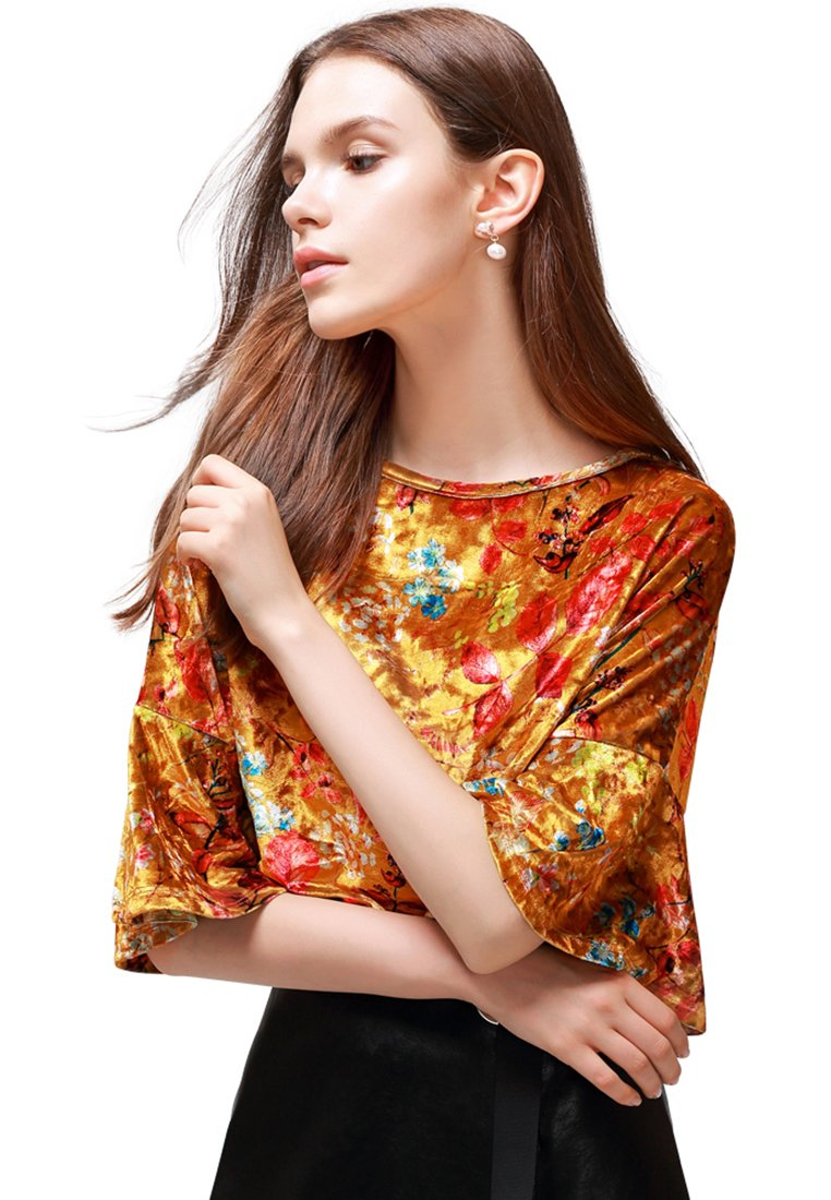 SHINY VELVET FLORAL TOP WITH BELL SLEEVES