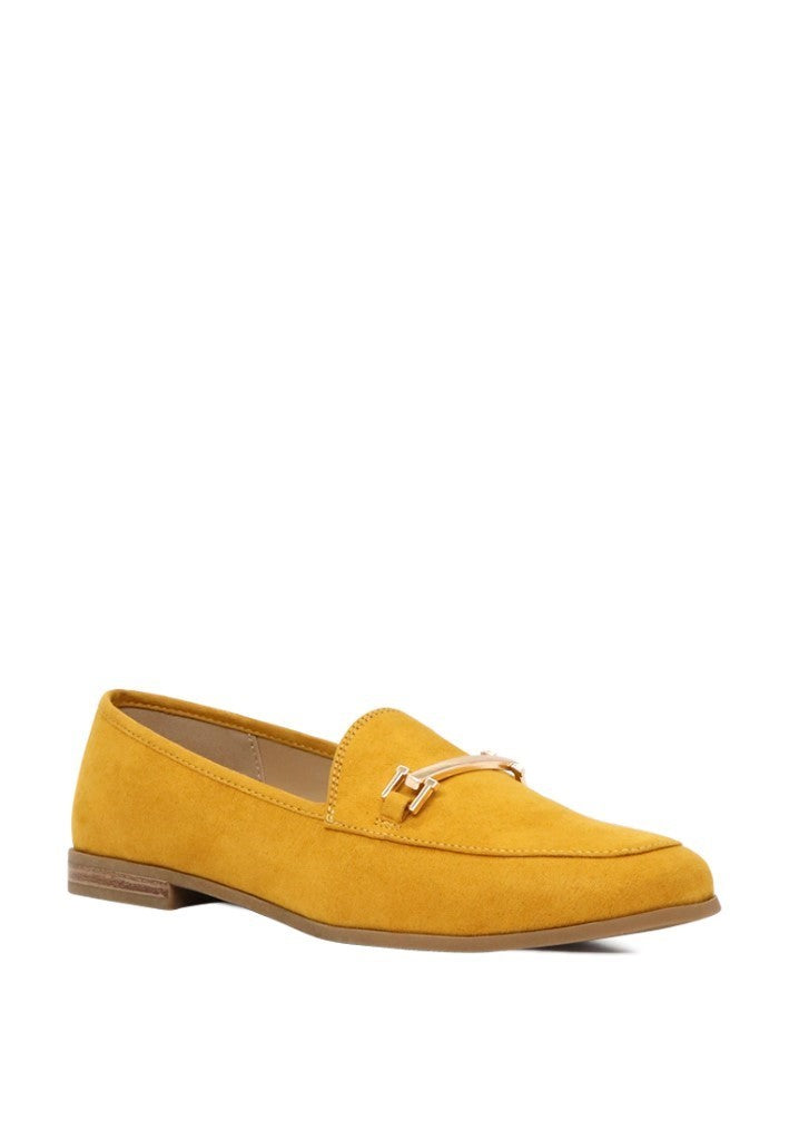solid faux suede loafers