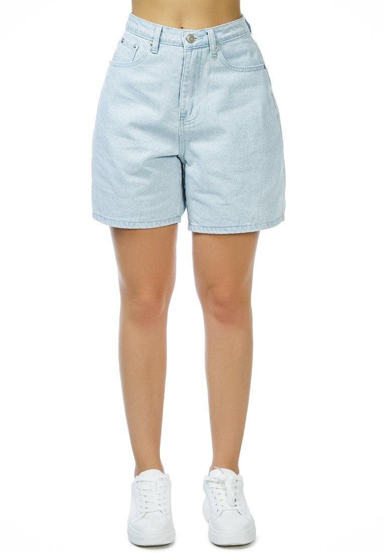 WHY SO SERIOUS DENIM SHORTS IN LIGHT BLUE