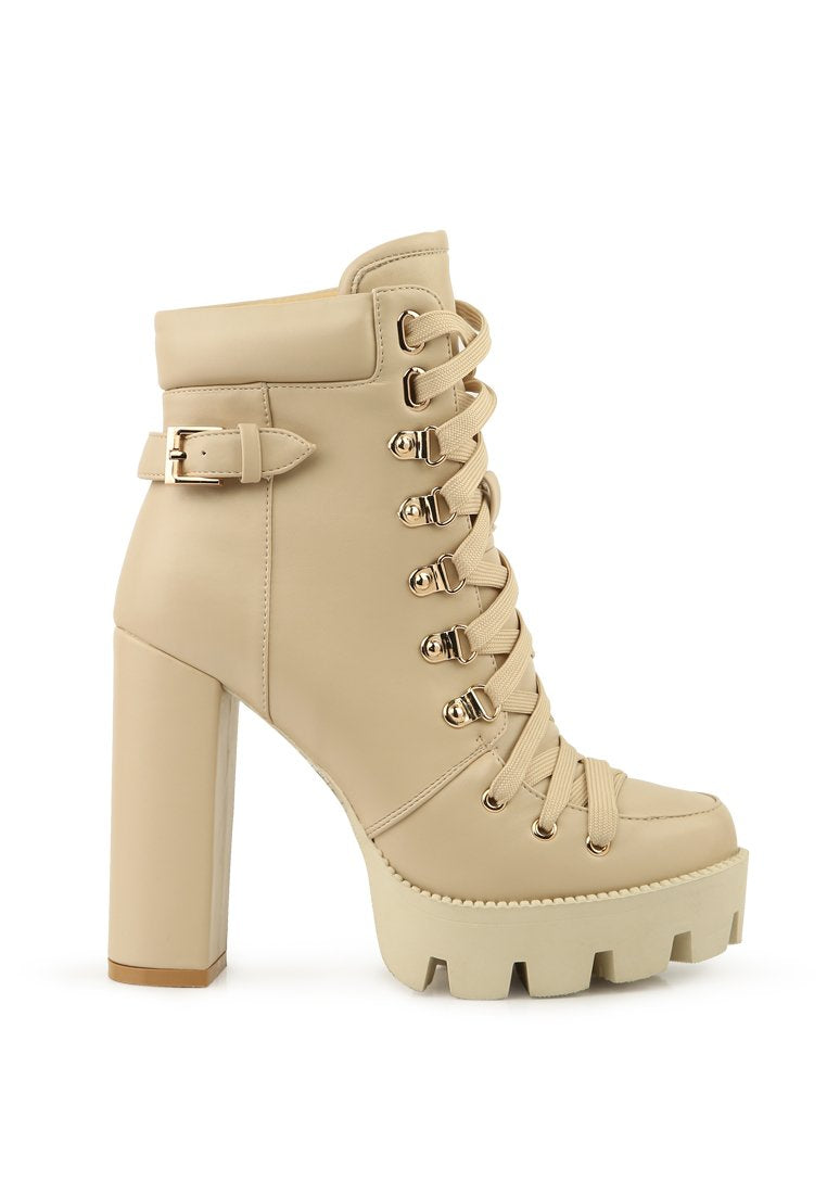 WILLOW CUSHION COLLARED LACE-UP HIGH ANKLE COMBAT BOOTS