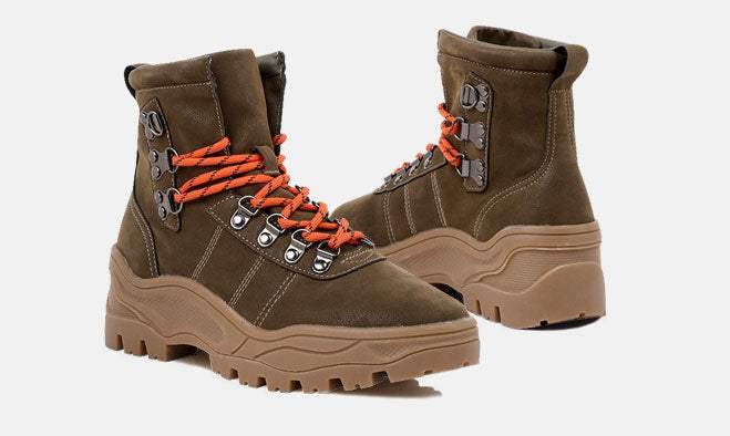 CONTRAST HIKING ANKLE BOOTS