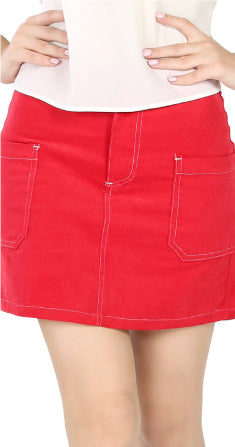 CHIC STYLED RED MINI SKIRT