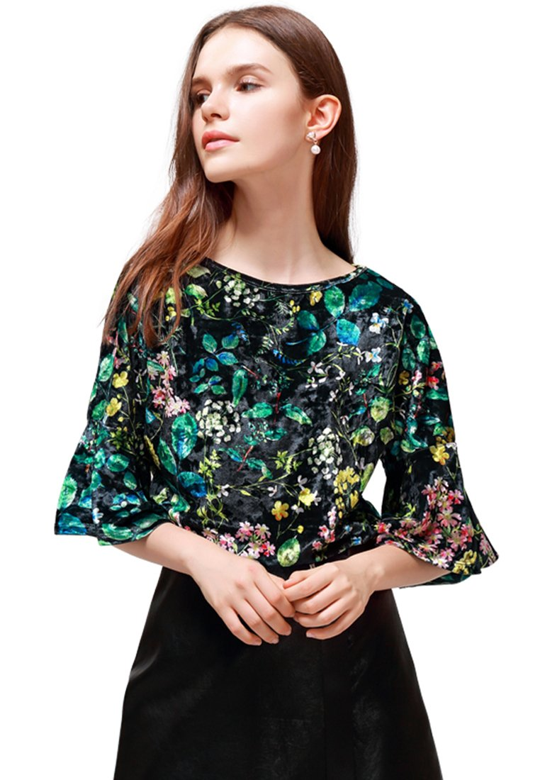shiny floral top with bell sleeves