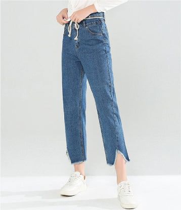 RELAXED FIT FRAYED HEM JEANS
