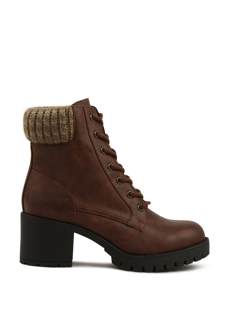 AIMEE KNITTED COLLAR LACE-UP ANKLE BOOTS