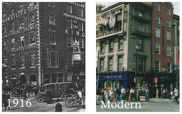 "The above images show O'Connell St, both after the 1916 rising, and in modern times. The two windows under ""King"" will become the premises for Dickson and Dickson."