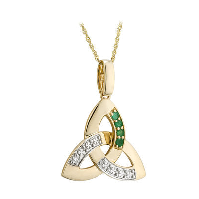 10ct Gold Diamond and Emerald Trinity Knot Pendant