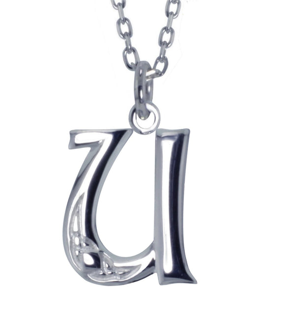 Sterling Silver Initial U Book Of Kells Inspired Pendant