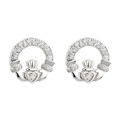 14ct White Gold Diamond Claddagh Earrings