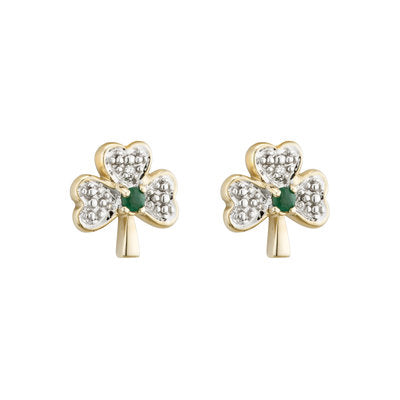 14ct Yellow Gold Diamond and Emerald Shamrock Earrings