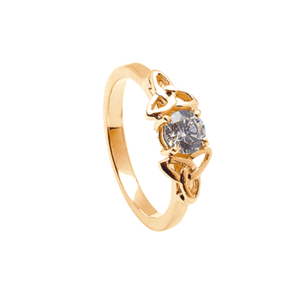 14ct Yellow Gold Diamond Ring with Yellow Gold Trinity Knots
