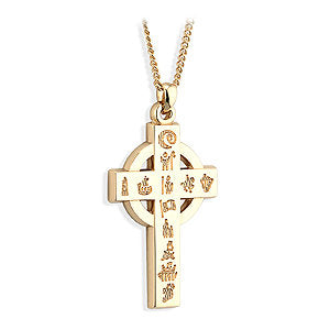 14ct Yellow Gold History Of Ireland Celtic Cross