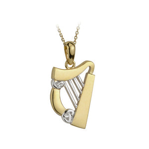 14ct Yellow And White Gold Celtic Harp Pendant