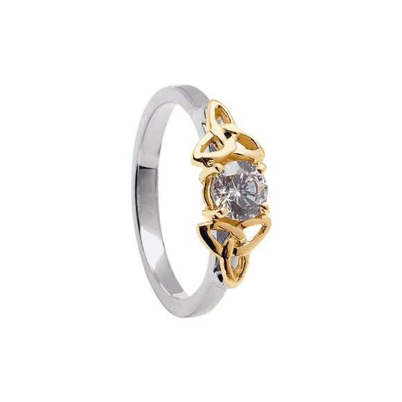 14ct White  and Yellow Gold Diamond Celtic Engagement Ring