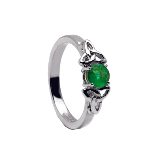 14ct White Gold Emerald Celtic Engagement Ring