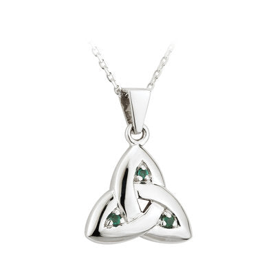 14ct White Gold Emerald Trinity Knot Pendant