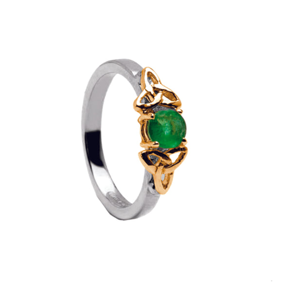 14ct White Gold Emerald Ring with Yellow Gold Trinity Knots